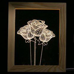 3D Vision USB Rose Flower Wooden Photo Picture Frame LED Night Light