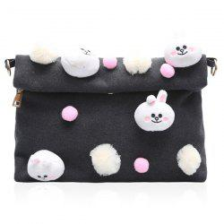 Magnetic Closure Animal Dolls Pompon Crossbody Bag