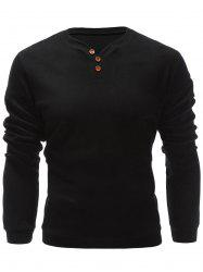 Three Buttons V Neck Sweatshirt - BLACK