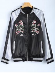 Color Block Flower Embroidery Fall Bomber Jacket - BLACK L