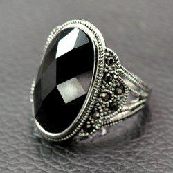 Vintage Artificial Onyx Finger Ring