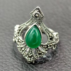 Ethnic Artificial Gemstone Alloy Ring