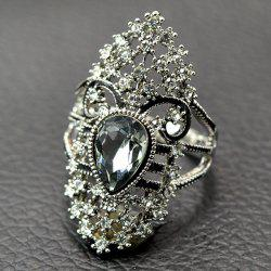 Retro Artificial Crystal Rhinestone Hollow Out Ring