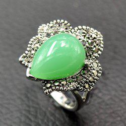 Ethnic Heart Shape Faux Beryl Ring - GREEN 18