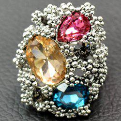 Europe Zirconia Faux Crystal Floral Ring