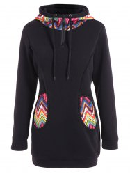 Plus Size Tribal Print Half Zipper Hoodie