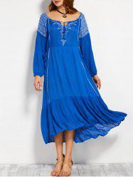 Scoop Neck Embroidered Drawstring Maxi Dress