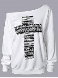 Cross Print Skew Neck Sweatshirt