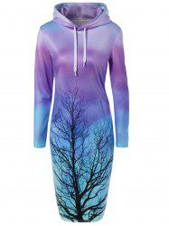 Tree Printed Ombre Hooded Sweatshirt Dress