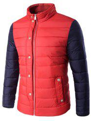 Stand Collar Zip Up Color Block Padded Jacket - RED 5XL
