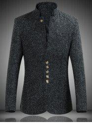 Mandarin Collar Single Breasted Heather Jacket - BLACK