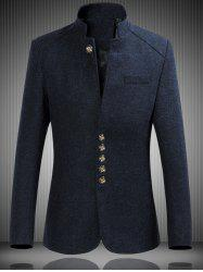 Mandarin Collar Single Breasted Heather Jacket - CADETBLUE
