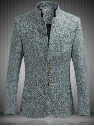 Mandarin Collar Single Breasted Heather Jacket - GRAY