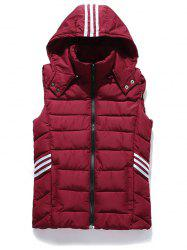 Stripe Zip Up Hooded Vest - RED 3XL