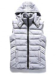 Trois Stripes Zip Up Hooded Padded Vest - Gris Clair XL