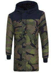 Zip Up Spliced Hooded Padded Camo Coat - CAMOUFLAGE COLOR 2XL