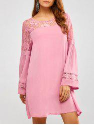 Lace Long Sleeve Short Tunic Dress with Sleeves - PINK