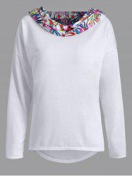 Flower Paneled Asymmetric Neck Hoodie