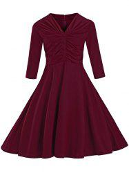 Ruched Slim Fit Swing Dress - WINE RED L