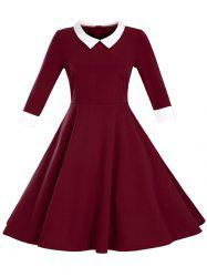 Paneled Color Block Swing Dress