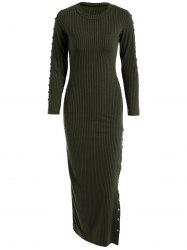 Slit Ribbed Maxi Long Sleeve Winter Sweater Dress - BLACKISH GREEN