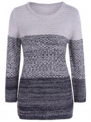 Ombre Longline Knitted Sweater - GRAY