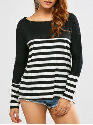 Boat Neck Long Sleeve Striped Tee