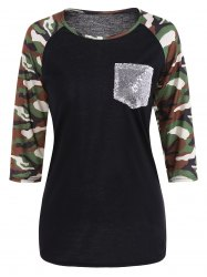 Sequined Pocket Baseball Tee - BLACK XL