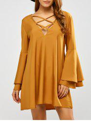 V Neck Reversible Flare Sleeve Lace Up Mini Dress - YELLOW