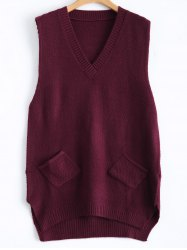 Patch Pocket Jumper Tank Sweater Dress -