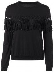 Crochet Trim Fringed Pullover Sweatshirt