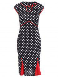 Contrast Trim Polka Dot Mermaid Dress