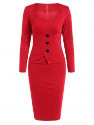 Long Sleeve Sheath Midi Office Dress