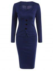 Long Sleeve Sheath Midi Office Work Dress -