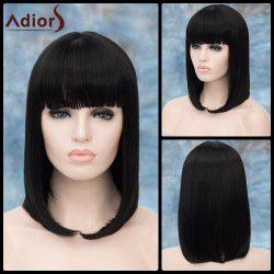 Adiors Medium Straight Neat Bang Tail Adduction Synthetic Wig