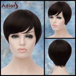 Adiors Short Silky Straight Inclined Bang Synthetic Wig - BLACK