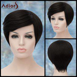 Adiors Short Spiffy Oblique Bang Straight Synthetic Wig