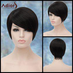 Adiors Short Oblique Bang Straight Synthetic Wig - BLACK