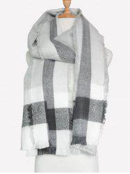 Outdoor Check Pattern Fringed Shawl Scarf -