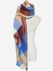 Outdoor Big Plaid Pattern Fringed Square Scarf