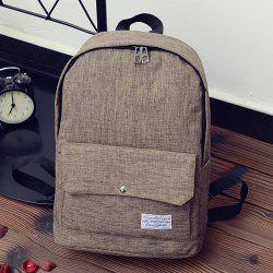 Wide Padded Straps Nylon Backpack - KHAKI
