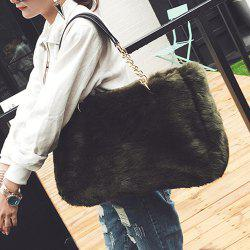 Faux Fur Chains Shoulder Bag