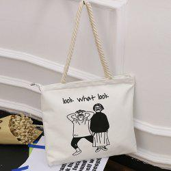 Figure Print Canvas Hemp Rope Shoulder Bag - WHITE