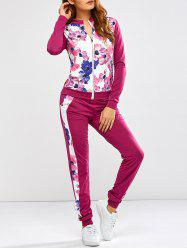 Floral Print Jacket Jogger Pants Sports Suits - PURPLISH RED S