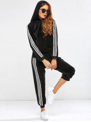 Striped Trim Hoodie with Running Jogger Pants - BLACK