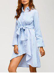 Asymmetrical Striped Long Sleeve Shirt Dress