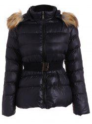 Belted Furry Hooded Puffer Jacket - BLACK