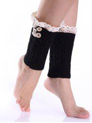 Lace Button Cable Knit Boot Cuffs -