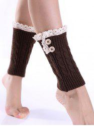 Lace Button Cable Knit Boot Cuffs - COFFEE