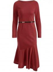 Slim Fit Long Sleeve Fishtail Bodycon Dress - WINE RED M